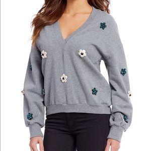 Gianni Bini Poppy Jewel Embellished Sweatshirt